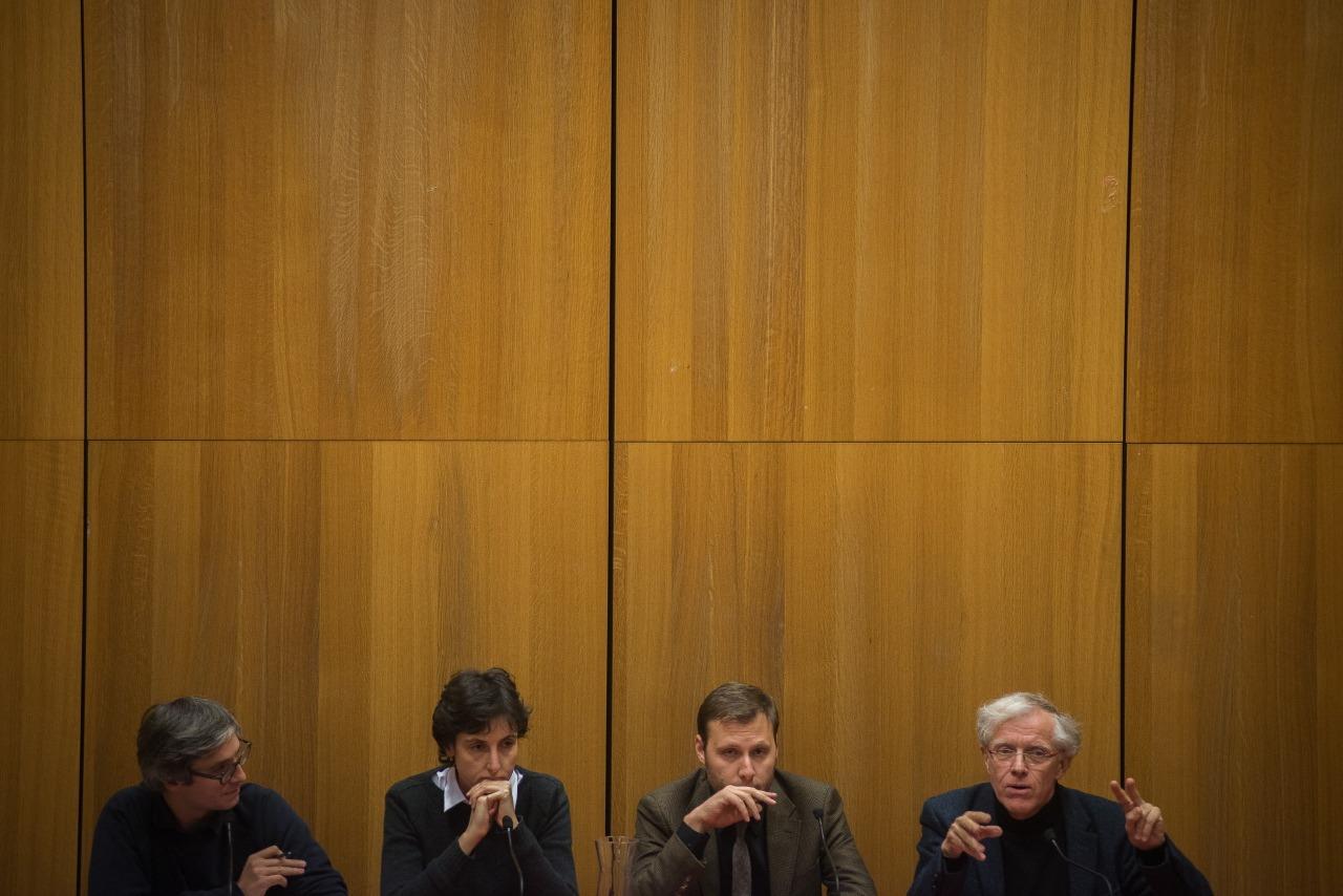 De gauche à droite : l'animateur Raphaël Bourgois, Agathe Cagé, Alexandre Devecchio et Pascal Ory - Crédit Bertrand Gaudillère / Item